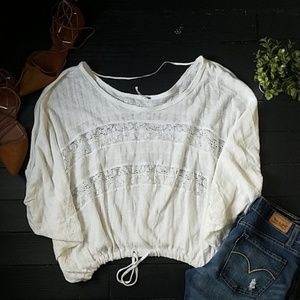 Free people White Lace Blouse 100% cotton